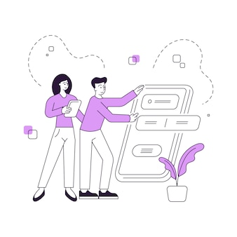 Illustration of linear cartoon man and woman browsing data in convenient online application while using modern digital devices together