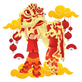 Illustration of a lion dancer performance at chinese new year.