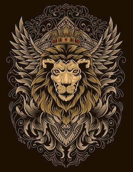 Illustration lion head with engraving ornament