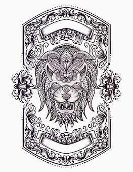 Illustration lion head with ornament style