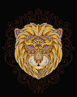 曼荼羅とライオンの熱のイラスト