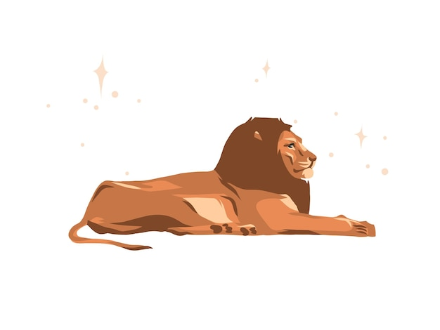 Illustration of lion lying down, side view, cartoon style
