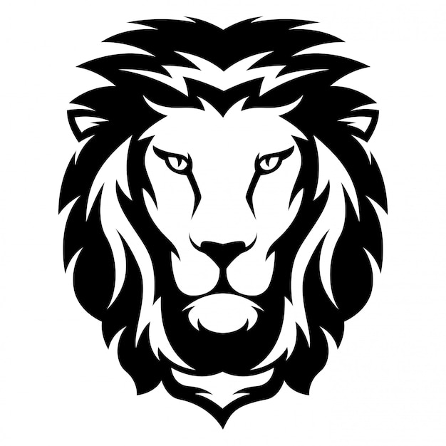 Illustration of lion with black and white style