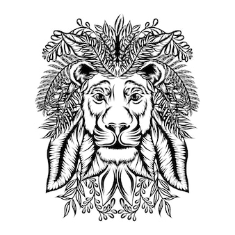 The illustration of the lion zentangle with the floral ornament