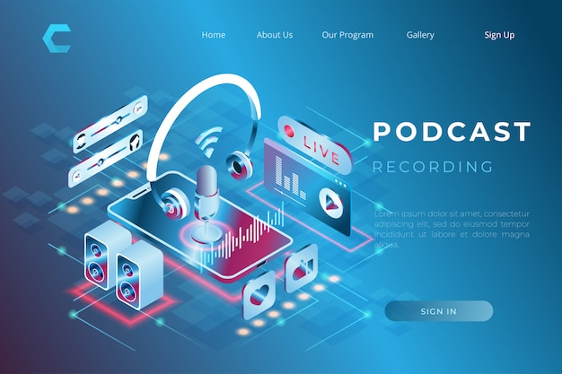 Illustration of listening to music online through podcast in isometric 3d style