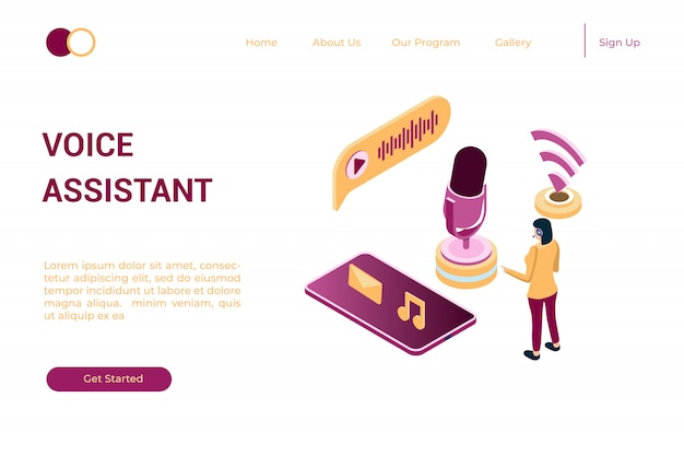 Illustration of listening to music online through podcasts in isometric 3d style Premium Vector