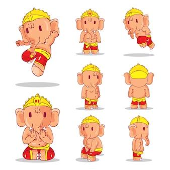 Illustration of little cartoon ganesha set