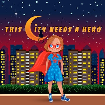 Illustration of little cute girl dressed as a superhero at night in the city.