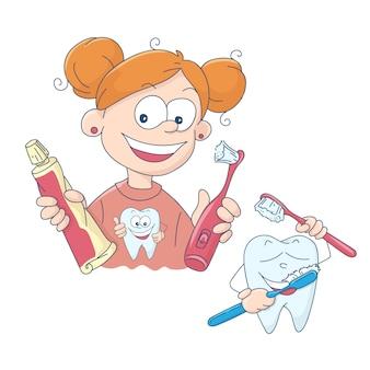 Illustration of a little girl brushing her teeth
