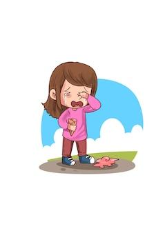 Illustration of little girl crying