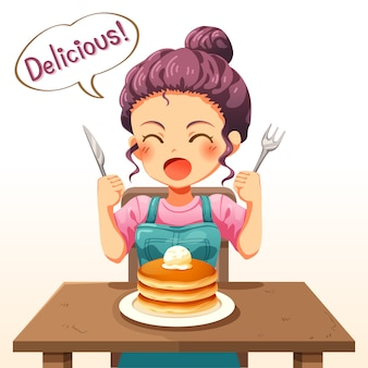 Illustration of a little kid girl eating pancakes