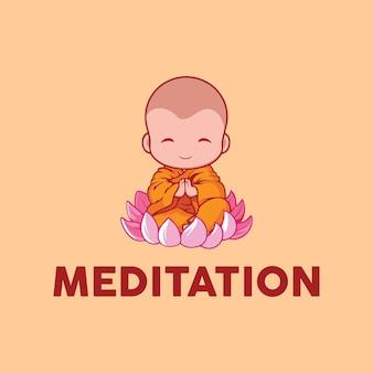 イラスト小さな僧侶は蓮の花のサイングラフィックベクトルで瞑想を行います