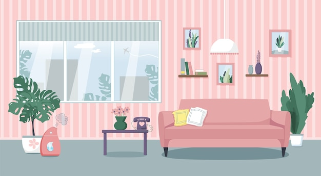 Illustration of the living room interior. comfortable sofa, table, window, indoor plants, humidifier. flat style.