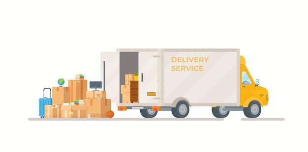 Illustration of loading parcels into a car delivery of goods from the store