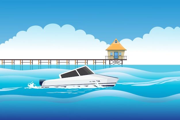 Illustration of the lodge on beach