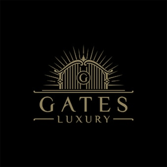 Illustration logo of luxury gate with the initials letter g in the middle, luxury hotel logo