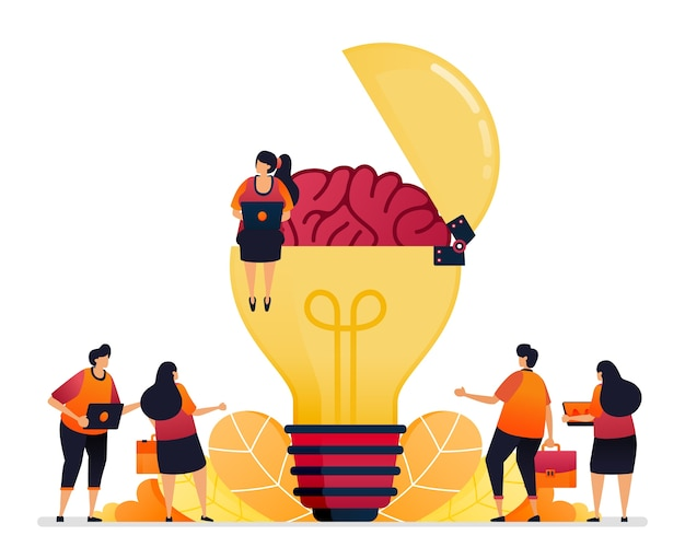 Illustration of looking for ideas, solution, opening your creative mind. brain of inspiration