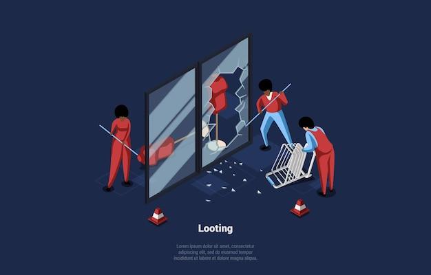 Illustration of looting. isometric composition on dark blue