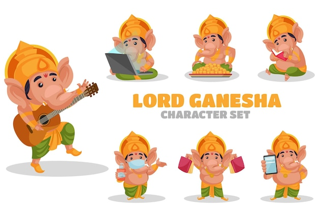 Illustration of lord ganesha character set