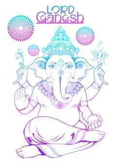 Illustration of lord ganesha of india for traditional hindu festival, ganesha chaturthi.