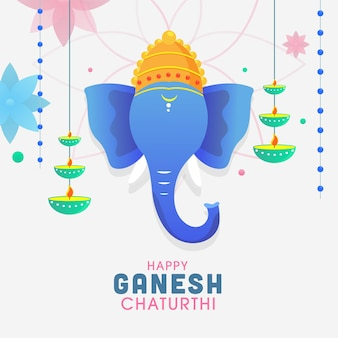 Illustration of lord ganpati face with hanging oil lamps (diya) and flowers