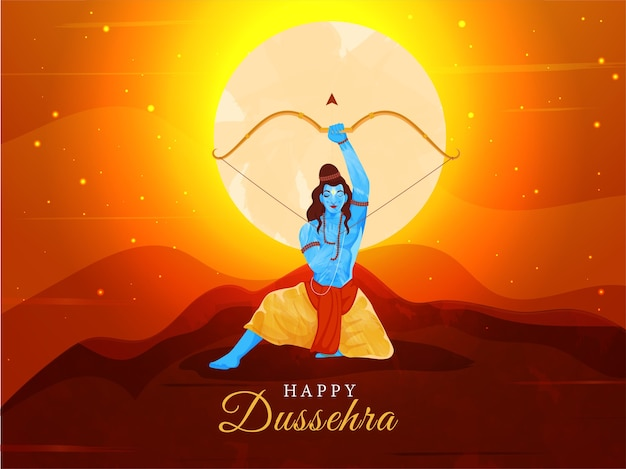 Illustration of lord rama holding bow arrow in sitting pose on sunrise background for happy dussehra.