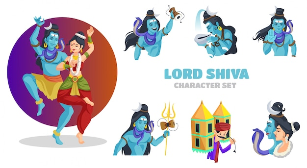 Illustration of lord shiva character set