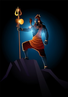 Illustration of lord shiva standing on top of a rock, indian god of hindu