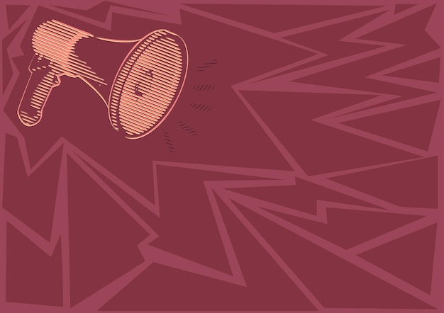 Illustration of a loud megaphone speaker making new announcements. line drawing bullhorn producing recent advertisement. amplifier sketch showing late broadcast.