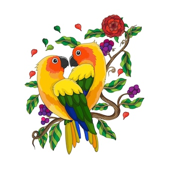 Illustration of love birds perched on a branch of a tree forming a heart-like shape, happy valentine's