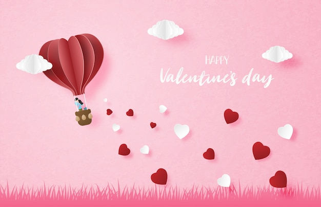 Illustration of love. couple in hot air balloon flying in the sky with falling heart shape in paper cut style.