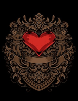 イラスト愛の心と彫刻の装飾スタイル