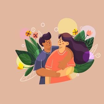 Illustration of love kissing couple,  two people hug, kissing and make selfie