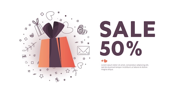 Illustration of love and valentine day. sale 50 percent discount