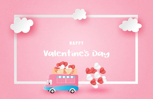 Illustration of love valentine's day advertisement poster with van and frame in paper cut style.
