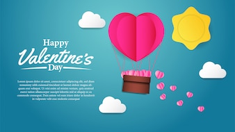 Illustration love valentine's day paper craft
