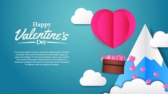 Illustration love valentine's day paper craft