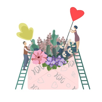 Illustration of lovers collecting flowers in large envelope for valentine's day as gift