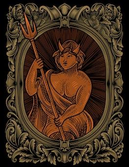 ヴィンテージ彫刻飾りフレームのイラストルシファー悪魔