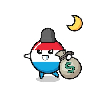 Illustration of luxembourg flag badge cartoon is stolen the money , cute style design for t shirt, sticker, logo element