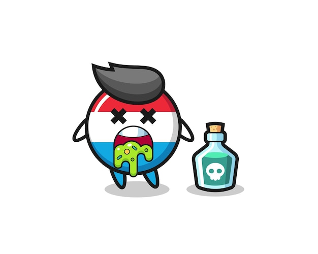 Illustration of an luxembourg flag badge character vomiting due to poisoning , cute style design for t shirt, sticker, logo element