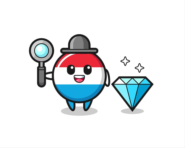 Illustration of luxembourg flag badge character with a diamond , cute style design for t shirt, sticker, logo element