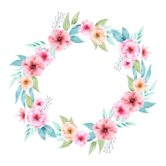 Illustration of luxuriant floral wreath in watercolor style