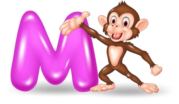 Illustration of m letter for monkey