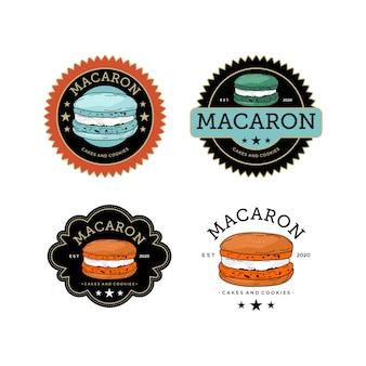 Illustration macaron cakes and cookies vintage logo design template premium