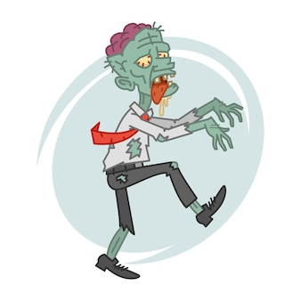 Illustration, mad zombie in motion, format eps 10