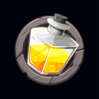Illustration of a magic potion icon in a stone frame.