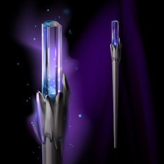 Illustration of magic wand with crystal and bright glow