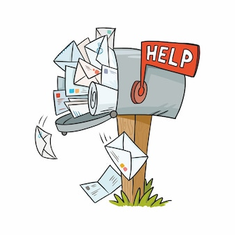 Illustration of a mailbox filled with letters