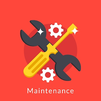 Illustration of maintenance with screwdriver and wrench